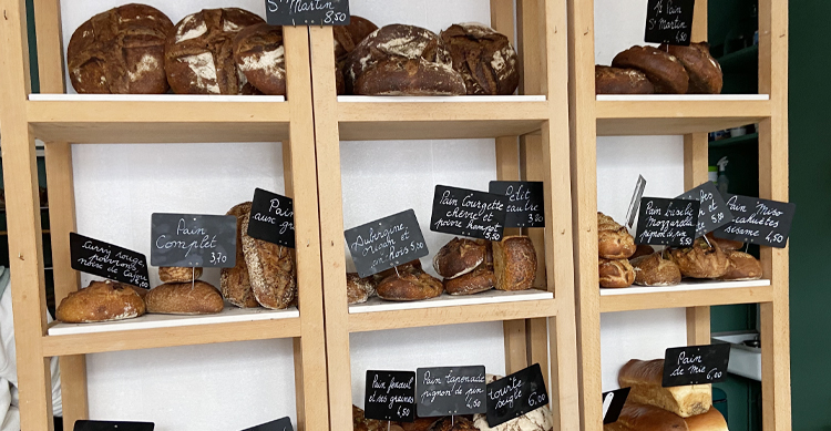 サンブランジェリーのパンの棚